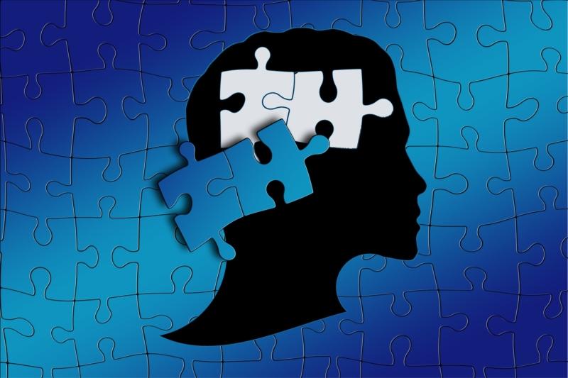 Puzzle von einem Gehirn, zwei Teile müssen ersetzt werden